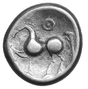 reverse: Celts in Eastern Europe AR Tetradrachm. Kugelwange Type. Circa 3rd century BC. 11.32 gr. – 23 mm, 3h. O:\ Celticised, laureate and bearded head to right. R:\ Horse prancing to left; pellet-in-annulet above. Lanz 464-5; OTA pl. 17, 193/1-2; LT 9815; Pink 196-8. aXF