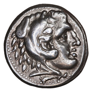 obverse: Kingdom of Macedon, Kassander, as regent, AR Tetradrachm. 17.30 gr. – 26 mm, 11h. In the name and types of Alexander III. Amphipolis, circa 307-297 BC. O:\ Head of Herakles right, wearing lion skin headdress. R:\ Zeus Aëtophoros seated left, holding sceptre; Λ above torch in left field. Price 443; Müller 32. UNC
