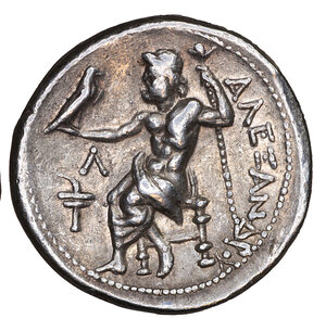 reverse: Kingdom of Macedon, Kassander, as regent, AR Tetradrachm. 17.30 gr. – 26 mm, 11h. In the name and types of Alexander III. Amphipolis, circa 307-297 BC. O:\ Head of Herakles right, wearing lion skin headdress. R:\ Zeus Aëtophoros seated left, holding sceptre; Λ above torch in left field. Price 443; Müller 32. UNC