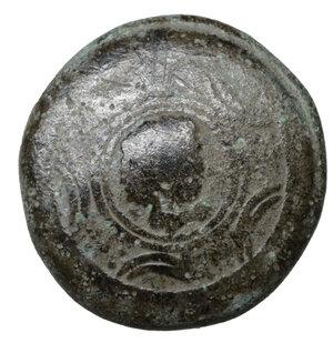 obverse: Macedon. Interregnum. 288-277 BC. Bronze. 3.85 gr. – 14.5 mm. O:\ Macedonian shield with head of Herakle. R:\ BA, Macedonian helmet. SNG Alpha Bank 1070. Scarce. aXF