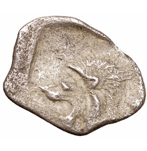 obverse: MYSIA. Cyzicus. 480-400 B.C. AR Obol. 0.70 gr. - 12,00 mm. O:\ Forepart of boar left, tunny fish upward facing at right. R:\ Lion s head to left in incuse square. SNG France 361-72. XF