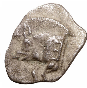 reverse: MYSIA. Cyzicus. 480-400 B.C. AR Obol. 0.70 gr. - 12,00 mm. O:\ Forepart of boar left, tunny fish upward facing at right. R:\ Lion s head to left in incuse square. SNG France 361-72. XF