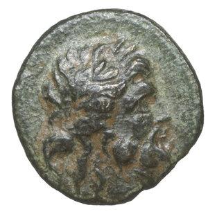 obverse: Mysia. Pergamon circa 200-30 BC. Bronze Æ 2.25 gr. – 15.0 mm. O:\ Laureate head of Asklepios right. R:\ AΣKΛHΠIOY ΣΩTHPOΣ, serpent-entwined staff. SNG von Aulock 1373. XF\UNC