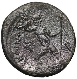 reverse: Bruttium, Petelia. Circa 280-216 BC. AE Triens. 22 mm - 7,04 gr. O:\ Veiled head of Demeter right. R:\ Zeus advancing left, head right, holding thunderbolt in right hand overhead, sceptre in left. SNG ANS 602 var. Rare. aXF