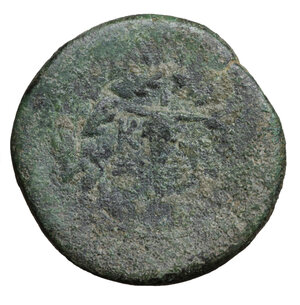 reverse: MYSIA. Kyzikos. 3rd century BC. Bronze. 15.95 gr. – 26.3 mm. O:\ Prow of galley to right. R:\ KY-ZI around monogram; the whole within oak wreath. SNG France 438 var. Rare. VF+