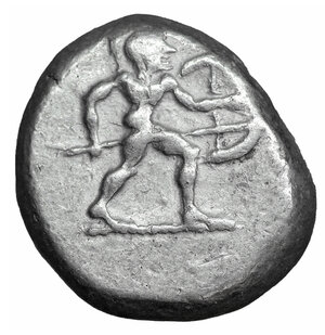 obverse: Pamphylia, Aspendos AR Stater. Circa 465-430 BC. 10.93 gr. - 21mm, 9h. O:\ Warrior advancing right, wearing crested helmet and holding shield and spear. R:\ Triskeles; EΣTFΔII above; below, lion standing left above ΠΦ; all within incuse square. SNG France 12 = Traité II 870, pl. XXIII, 21; SNG von Aulock -; SNG Copenhagen -. Full legend. XF