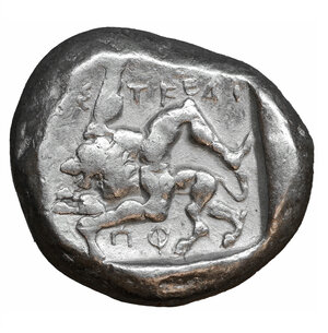 reverse: Pamphylia, Aspendos AR Stater. Circa 465-430 BC. 10.93 gr. - 21mm, 9h. O:\ Warrior advancing right, wearing crested helmet and holding shield and spear. R:\ Triskeles; EΣTFΔII above; below, lion standing left above ΠΦ; all within incuse square. SNG France 12 = Traité II 870, pl. XXIII, 21; SNG von Aulock -; SNG Copenhagen -. Full legend. XF