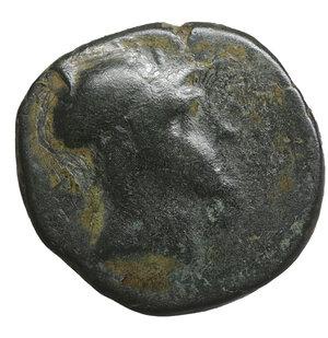 obverse: PAPHLAGONIA. Sinope. 105-90 BC. Struck under Mithradates VI Eupator. Bronze. 6.70 gr. – 21.4 mm. O:\ Helmeted head of Ares right. R:\ ΣΙΝΩΠΗΣ. Sword in sheath. SNG BM Black Sea 1528-30; HGC 7, 418. VF+