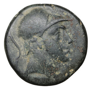 obverse: PAPHLAGONIA. Sinope. 100-85 BC. Bronze. 8.05 gr. – 20.6 mm. O:\ Helmeted head of Ares. R:\ Sword in sheath. SNG.Cop.310. VF\XF