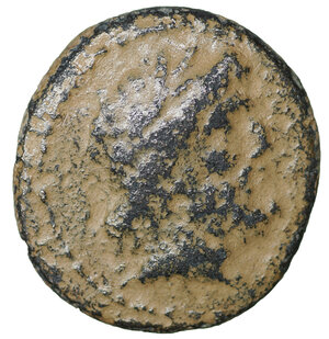obverse: Phoenicia. Marathos. 113-112 BC. Bronze. 6.25 gr. – 20.6 mm. O:\ Laureate head of Zeus right. R:\ Double cornucopiae; in fields, city name and year 147 in aramaic letters. SNG Cop. 172. Collection Laffaille 585 (this coin). Rare. VF\XF