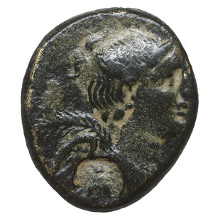 obverse: Philomelion, Phrygia. 2nd-1st Century BC. Bronze. 10.07 gr – 23.9 mm. O:\ Draped bust of Nike r., palm over shoulde. R:\ ΦIΛOMH, Double cornucopiae, each bound with fillet; between, thunderbolt surmounted by star and crescent. SNG Aulock 3916; SNG Cop. 664-5. Countermarked. Dark Patina. aXF