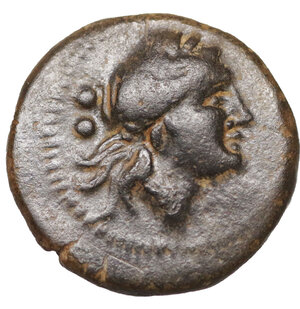 obverse: Petelia. Bruttium. Sextans. 215-210 BC. 14 mm - 2,38 gr. O:\ Head of Apollo right. R:\ Artemis advancing left, holding torch. SNG ANS 614. XF