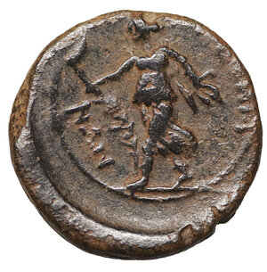reverse: Petelia. Bruttium. Sextans. 215-210 BC. 14 mm - 2,38 gr. O:\ Head of Apollo right. R:\ Artemis advancing left, holding torch. SNG ANS 614. XF