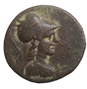 obverse: PHRYGIA. Apameia . Circa 133-48 BC. Æ 5.15 gr. – 22.6 mm. O:\ Bust of Athena right, wearing high-crested Corinthian helmet and an aegis. R:\ APAMEWN, eagle alighting on basis with meander pattern, flanked by caps of the Dioskouroi, star above; magistrates ANTIFWN and MENEKLEOS. SNG Copenhagen 164; BMC Phrygia pg. 77, 46; SNG von Aulock 3466ff var. (different magistrates). VF+
