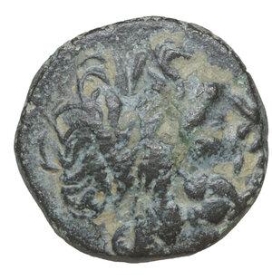 obverse: Pisidia, Termessos. 71-36 BC. Bronze Æ 4.27 gr – 16.5 mm. O:\ Laureate head of Zeus r. R:\ TEP; Horse rampant l. SNG BnF 2113. XF+