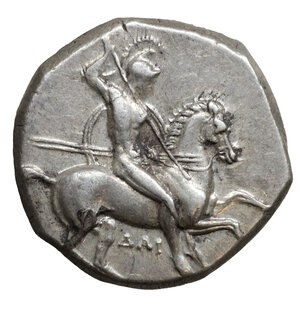 obverse: CALABRIA. Tarentum. Circa 302-290 BC. Didrachm or nomos. (Silver, 19 mm, 8.01 g, 1 h), under Dai.. and Phi... O:\ Nude, helmeted warrior on horseback right, holding shield and two spears, thrusting spear downwards; below, ΔAI. R:\ TAPAΣ Taras riding dolphin left, holding shield decorated with hippocamp and trident; to left, ΦI; below, to right, murex shell. HN III 935. Fischer-Bossert Group 77, 1021 (V391/R787). Vlasto 594-596. Fine style. XF+