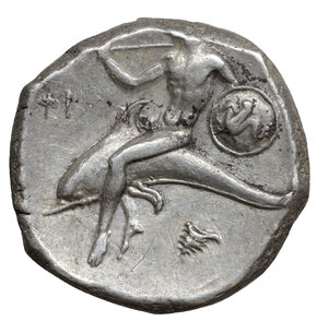reverse: CALABRIA. Tarentum. Circa 302-290 BC. Didrachm or nomos. (Silver, 19 mm, 8.01 g, 1 h), under Dai.. and Phi... O:\ Nude, helmeted warrior on horseback right, holding shield and two spears, thrusting spear downwards; below, ΔAI. R:\ TAPAΣ Taras riding dolphin left, holding shield decorated with hippocamp and trident; to left, ΦI; below, to right, murex shell. HN III 935. Fischer-Bossert Group 77, 1021 (V391/R787). Vlasto 594-596. Fine style. XF+