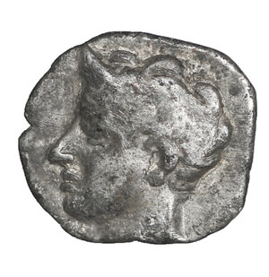 obverse: Sicily, Panormos as Ziz. AR Litra. Circa 410-405 BC. 8 mm - 0,40 gr. O:\ Horned head of river god left. R:\ Forepart of man-headed bull right, Punic letters above. SNG ANS 549-550; Jenkins, Punic, p. 75, 13; HGC 2, 1046. Rare. VF\XF