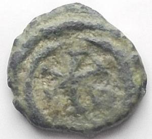 reverse: Barbari. Vandali. Guntamundo. 484-496 d.C.Nummo.D/ Busto verso destra. R/ Cristogramma in corona d  alloro. Ladich 11. Peso 0,49 gr. Diametro 8,2 mm.MB\BB.