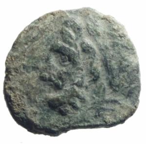 obverse: Mondo Greco. Apulia. Arpi. 217-213 a.C. Obolo. Ae. D\ Testa di Zeus verso sinistra. R/ Cavallo al galoppo verso sinistra, sopra una stella, sotto monogramma di Arpi. Peso 2,95 gr. Diametro 18,00 mm. BB