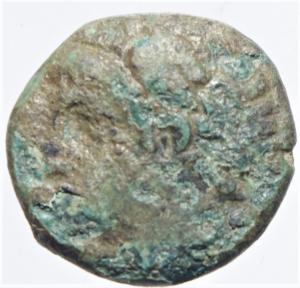 obverse: Mondo Greco. Campania. Neapolis. 300-275 a.C. Ae. D/ Testa maschile verso sinistra. R/ Tripode ai lati NEOOITN. Sambon 705. Peso 2,14 gr. Diametro 13 mm. MB. Patina verde. NC.