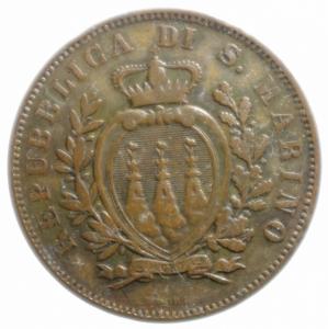 obverse: Zecche Italiane.San Marino. Vecchia Monetazione (1864-1938). 10 centesimi 1893. AE.BB.