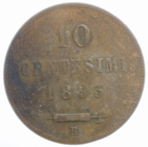 reverse: Zecche Italiane.San Marino. Vecchia Monetazione (1864-1938). 10 centesimi 1893. AE.BB.