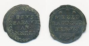 obverse: Fermo. Pio VI (1775-1799). Mezzo baiocco anno XXIII/1797 CU gr. 3,65. Muntoni 324. q.SPL