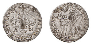 obverse: Firenze. Repubblica sec. XVI. Barile – 1510/II sem. (segno: stemma Quaratesi con R sopra; Raniero Quaratesi) AG gr. 3,45. Bernocchi 3641/4. MIR 72/10. Raro. q.SPL