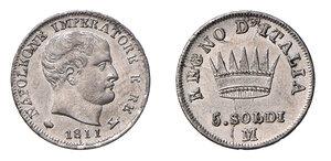 obverse: Milano. Napoleone I re d'Italia (1805-1814). Da 5 soldi 1811 AG. Pagani 62. Crippa 37/D. MIR 495/4. q.FDC