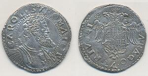 obverse: Napoli. Carlo V d Asburgo (1516-1556). Mezzo ducato (busto grande/stemma piccolo) AG gr. 14,57. P.R. 14. MIR 135. q.SPL