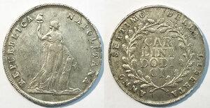 obverse: Napoli. Repubblica napoletana (23 gennaio – 19 giugno 1799). Piastra da 12 carlini anno VII AG gr. 27,48. P.R. 1. MIR 413. q.SPL