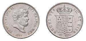 obverse: Napoli. Ferdinando II di Borbone (1830-1859). Piastra da 120 grana 1857 AG. Pagani 223f. P.R. 86. MIR 503/6. Migliore di SPL