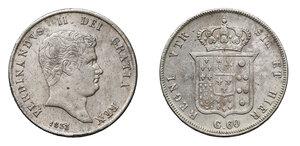 obverse: Napoli. Ferdinando II di Borbone (1830-1859). Mezza piastra da 60 grana 1833 (3 su 3) AG. Pagani 229a. P.R. 91. MIR 504/2. Rara. BB