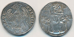 obverse: Pisa. Repubblica (emissioni a nome di Federico I, 1155-1312). Aquilino maggiore (segno: stella a sei punte) AG gr. 3,31. CNI 25/30. MIR 397 (post 1269). Raro. q.SPL