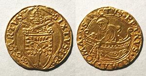 obverse: Roma. Sisto IV (1471-1484). Fiorino di camera AV gr. 3,37. Muntoni 10. MIR 452/1. Raro. q.SPL