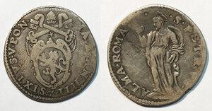 obverse: Roma. Sisto V (1585-1590). Testone anno IV AG gr. 9,16. Muntoni 37a. MIR 1325/5. BB