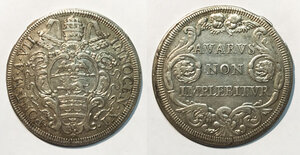 obverse: Roma. Innocenzo XI (1676-1689). Mezza piastra anno VII AG gr. 15,93. Muntoni 50. q.SPL