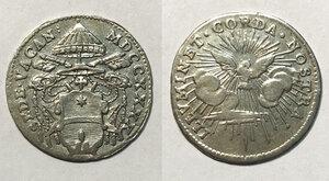 obverse: Roma. Sede Vacante 1740 (Camerlengo card. Annibale Albani). Grosso 1740 AG gr. 1,33. Muntoni 16. q.SPL