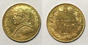 obverse: Roma. Pio IX (1846-1878). Scudo 1858 anno XII AV. Pagani 381. SPL