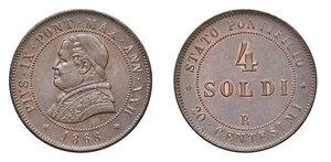 obverse: Roma. Pio IX (1846-1878). Monetazione decimale, 1866-1870. Da 4 soldi 1868 anno XXII CU. Pagani 593. Iridescenze di rame rosso, più di SPL