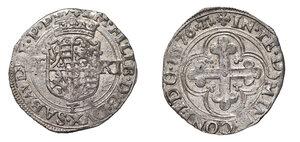 obverse: Savoia. Emanuele Filiberto (1559-1580). Bianco o da 4 soldi 1576 (Torino) AG gr. 4,67. MIR 520ac. q.SPL