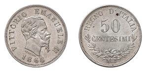 obverse: Savoia. Vittorio Emanuele II re d'Italia (1861-1878). Da 50 centesimi 1866 (Milano) AG. Pagani 530. Rara. FDC
