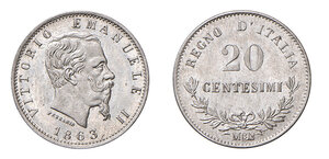 obverse: Savoia. Vittorio Emanuele II re d'Italia (1861-1878). Da 20 centesimi 1863 (Milano) AG. Pagani 530. FDC