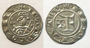 obverse: Trento. Emissioni anonime vescovili (dal 1255). Grosso da 20 denari AG gr. 1,63. CNI 6. Rizzolli T40. MEC 12, 939. SPL