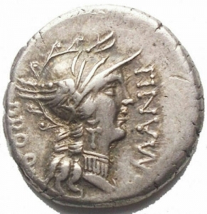 obverse: L. Manlius Torquatus for L. Cornelius Sulla Felix. Denarius. Mint following Sulla 82 BC AR (g 3.97; mm 16.54) d / Helmeted head of Rome on the right. in front of L MANLI, behind PRO Q r / Triumph on quadriga towards ds. holds the reins, the caduceus and is crowned with a flying Victory; in ex. L SVLLA IM. Crawford 367/5; Manlia 4, Cornelia 39; Sydenham 757. EF. Shiny metal