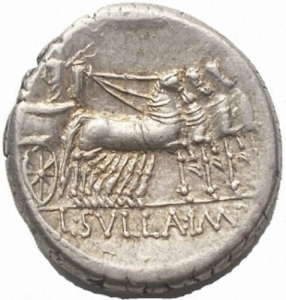 reverse: L. Manlius Torquatus for L. Cornelius Sulla Felix. Denarius. Mint following Sulla 82 BC AR (g 3.97; mm 16.54) d / Helmeted head of Rome on the right. in front of L MANLI, behind PRO Q r / Triumph on quadriga towards ds. holds the reins, the caduceus and is crowned with a flying Victory; in ex. L SVLLA IM. Crawford 367/5; Manlia 4, Cornelia 39; Sydenham 757. EF. Shiny metal