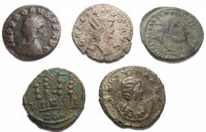 obverse: Mondo Romano. Insieme di 5 pezzi in Ae, Mi
