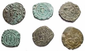 obverse: Napoli Carlo II d Angiò (1285-1309) Denaro regale. D/ Busto frontale. R/ Croce gigliata. P.R.4. MI, 0.68gr. BB+. Argentatura
