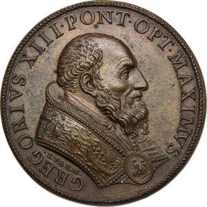 obverse: Gregorio XIII (1572-1585), Ugo Boncompagni.. Medaglia 1580 per la costruzione del Ponte Gregoriano sul fiume Paglia